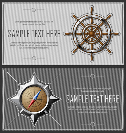 copyspace: Set of grey abstract striped flyers with nautical elements and copy-space. Vector eps10. Illustration