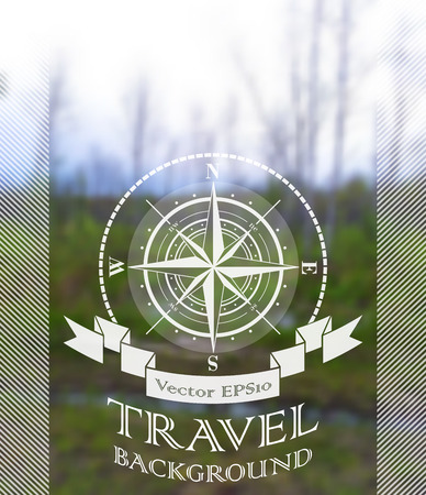 Blurred nature summer background with compass rose. Vector illustration.