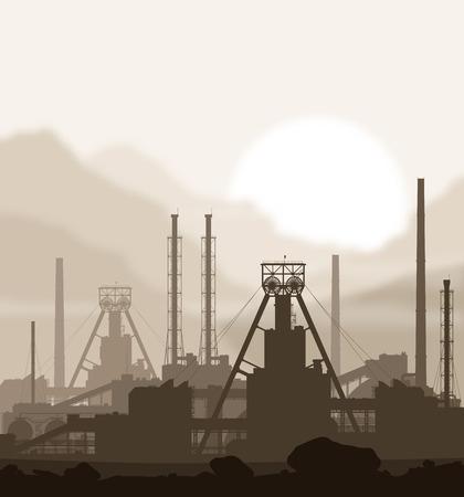 amoniaco: Mineral planta de fertilizantes sobre el fondo borroso de la puesta del sol en grandes montañas. Ilustración vectorial detallada de gran planta de fabricación.