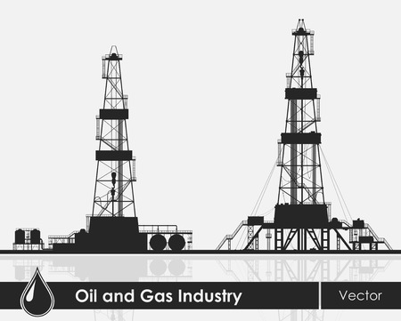 derrick: Set of oil rigs silhouettes. Detailed vector illustration over grey background.