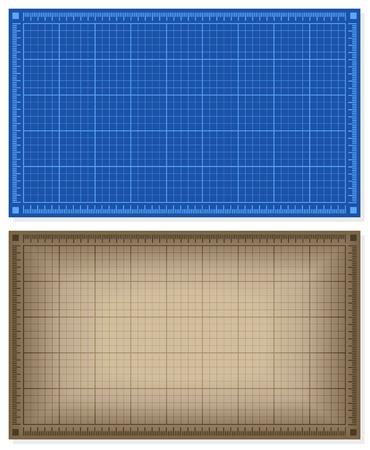 arquitecto: Conjunto de fondos blueprint - azul y marr�n. Ilustraci�n del vector.