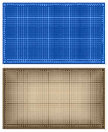 architect drawing: Set of blueprint backgrounds - blue and brown. Vector illustration.