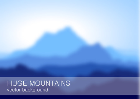 lanscape: Blurred lanscape with high blue mountains. Vector eps10. Illustration