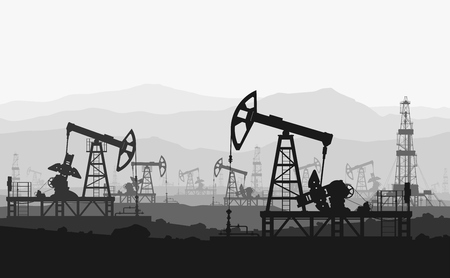 to field: Oil pumps at large oilfield over mountain range. Detail vector illustration.
