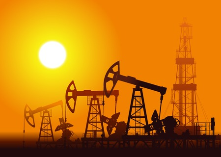 Oil pumps and rig over sunset. Detail vector illustration. Stock Illustratie