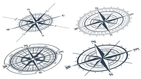 licenciatura: Conjunto de rosas de los vientos o windroses. Ilustración del vector.