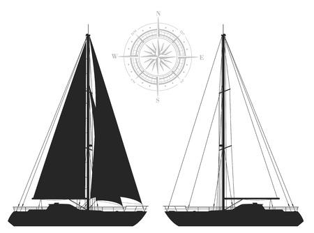 Yachts. Gedetailleerde vector illustratie van twee zwarte jacht op een witte achtergrond.