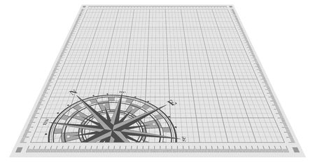 compass vector: Compass rose silhouette over blueprint background. Vector illustration. Illustration