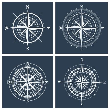rosa de los vientos: Conjunto de rosas de los vientos o windroses. Ilustración del vector.