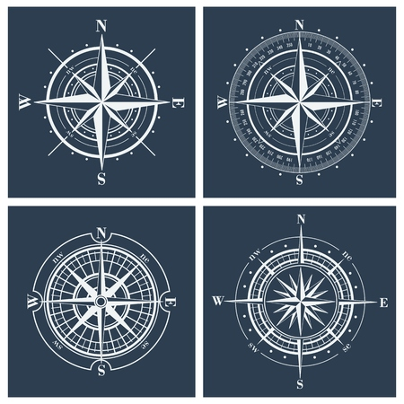 old compass: Set of compass roses or windroses. Vector illustration.