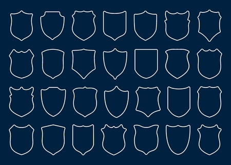 Large set of white contour shields with rounded corners on blue background. Vector illustration.  イラスト・ベクター素材