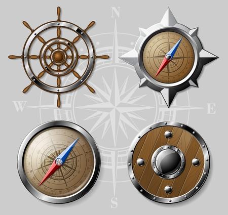 escudo: Conjunto de acero y elementos náuticos madera - brújula, volante y escudo redondo. Ilustración vectorial Detalle.