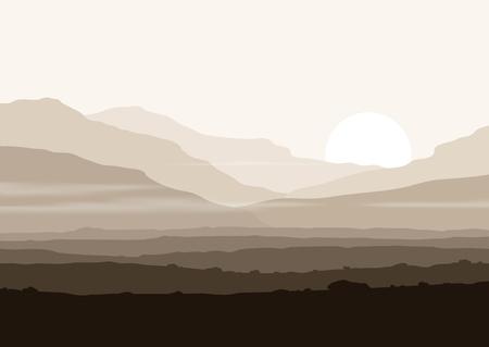 táj: Élettelen táj óriási hegyek fölött napot. Vector panoráma eps10.