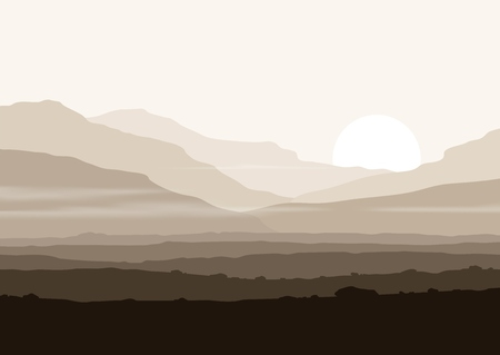 Lifeless landscape with huge mountains over sun. Vector panorama eps10. Vectores
