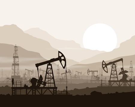Oil pumps and rigs at large oilfield over  sunset in huge mountains. Detail vector illustration. Vectores