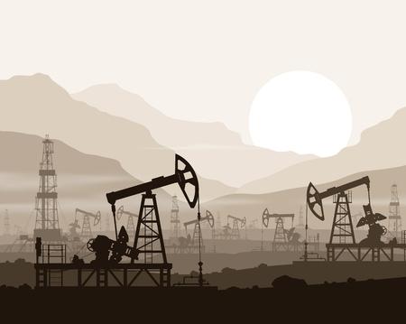 Oliepompen en rigs op grote olieveld over zonsondergang in enorme bergen. Detail vector illustratie.