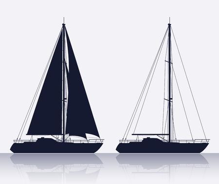 voile: Yachts. Detailed vector silhouette de deux yachts de luxe.