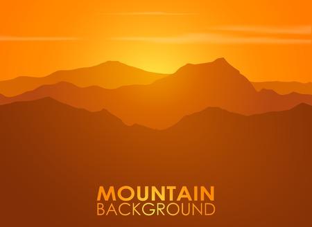 montagna: Intervallo di montagna sopra il tramonto. Sfondo vettoriale con copyspace.