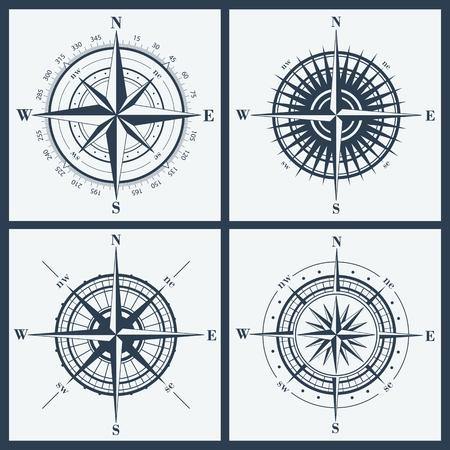 brujula: Conjunto de rosas de los vientos aisladas o windroses. Ilustraci�n del vector.