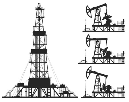 Set of oil pumps and rig silhouettes isolated on white. Detail vector illustration.