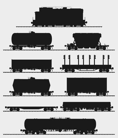 Conjunto de tren y diferentes tipos de vagones de mercancías. Aislado Ilustración vectorial detallada.