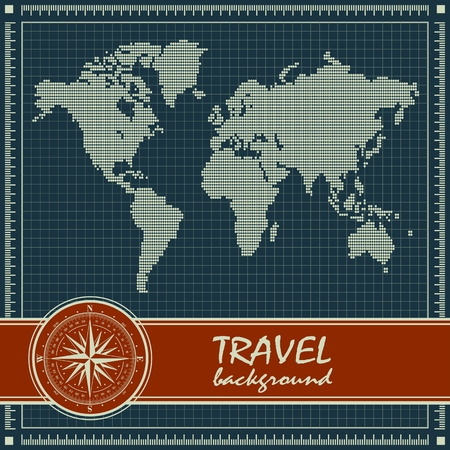 inches: Blue retro travel background with dotted world map and  red banner with compass rose. Vector illustration.
