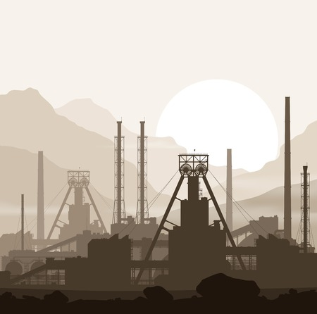 manufacturing plant: Mineral fertilizers plant over sunset in huge mountains. Detailed vector illustration of large manufacturing plant.