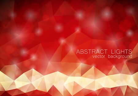 red abstract: Red abstract triangle geometrical background with lights and bokeh