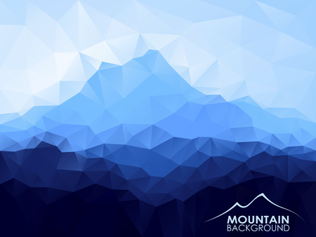 Triangle geometrical background with blue mountain range