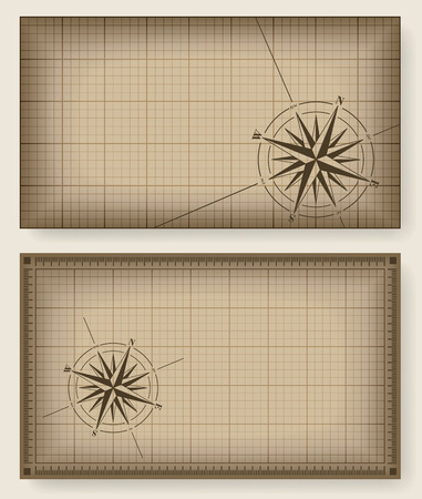 vintage world map: Brown blueprint background with compass rose
