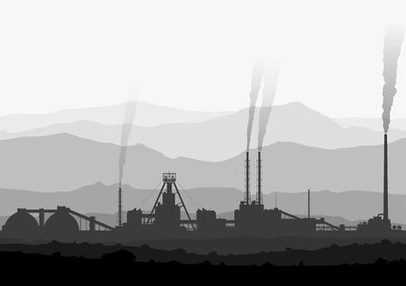 Detail illustration of large smoking manufacturing plant