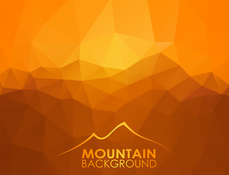 mountain sunset: Triangle geometrical background with mountain range over sunset