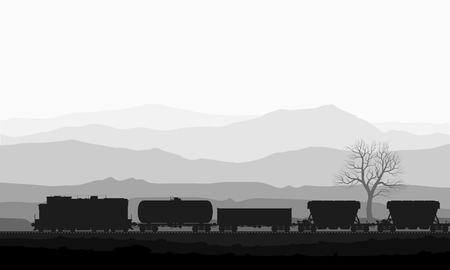 freight train: Detailed illustration of train Illustration