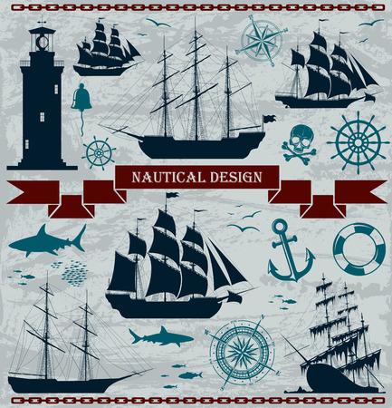 bussola: Set di navi a vela con elementi di design nautico