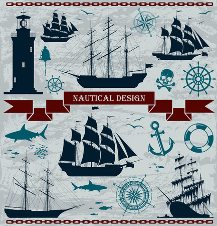 pirate skull: Set of sailing ships with nautical design elements