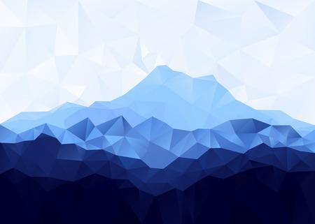 Driehoek geometrische achtergrond met blauwe bergketen. Vector illustratie.
