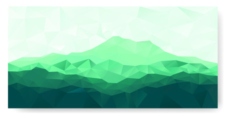 Triangle geometrical background with green mountain range . Vector panorama.