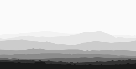 Landscape with huge mountain range. Black and white vector panorama.