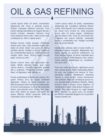 rectification: Oil and gas refinery or chemical plant silhouette. Magazine page or booklet layout. Detail vector illustration with copyspace.