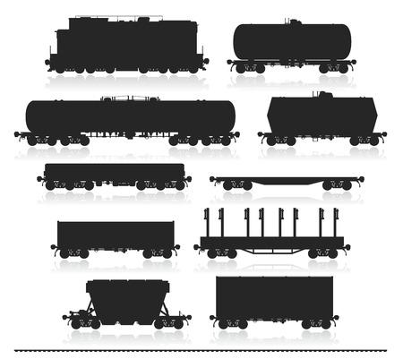 ferrocarril: Conjunto de tren y diferentes tipos de vagones de mercancías aisladas en blanco. Aislado Ilustración vectorial detallada.