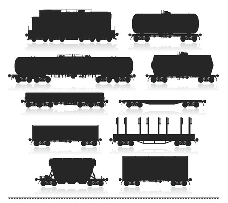 railroads: Set of train and different types of freight wagons isolated on white. Detailed isolated vector illustration. Illustration