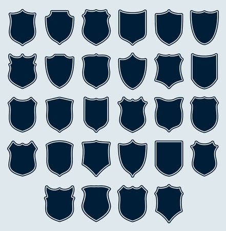 Set of heraldic icons shields silhouettes. Vector illustration.