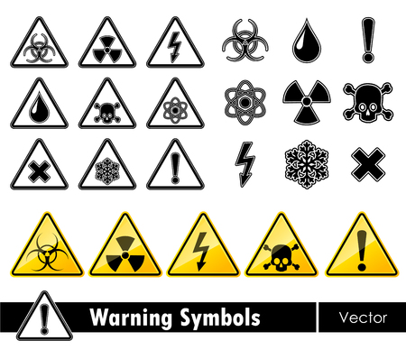electricity danger of death: Icon set of warning symbols. Vector illustration.