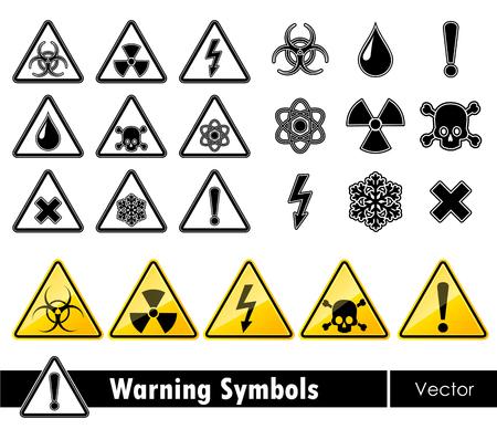 deadly danger sign: Icon set of warning symbols. Vector illustration.