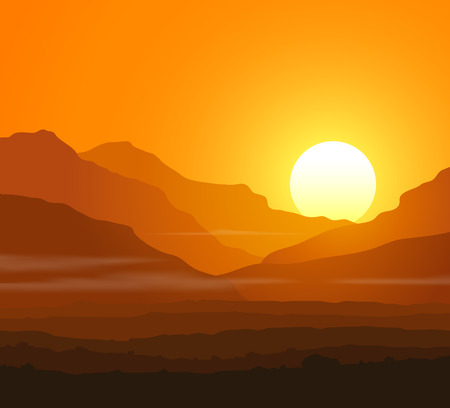 sunset: Lifeless landscape with huge mountains at sunset.