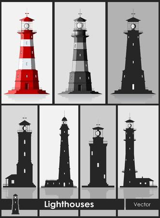Lighthouses. Set of huge lighthouses over grey background. Vector illustration. Vettoriali