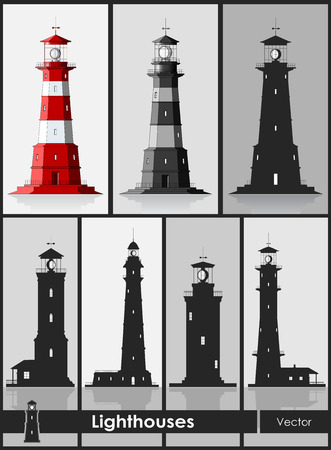 Lighthouses. Set of huge lighthouses over grey background. Vector illustration. Vectores