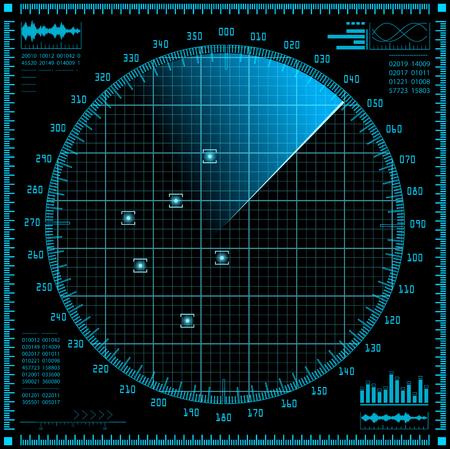 sonar: schermo radar blu. HUD illustrazione interfaccia vettoriale.