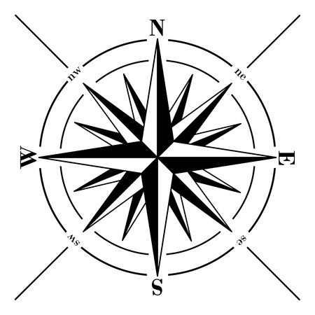 Windrose. Compass rose isolated on white background.