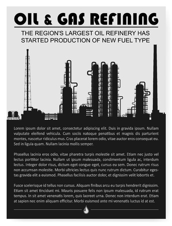gas refinery: Oil and gas refinery or chemical plant silhouette. Magazine page or booklet layout. Detail vector illustration with copyspace.